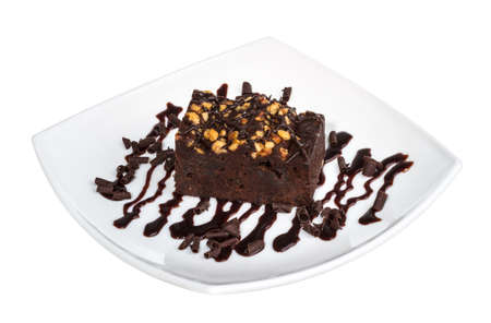 cake truffle with black chocolate sauce photo