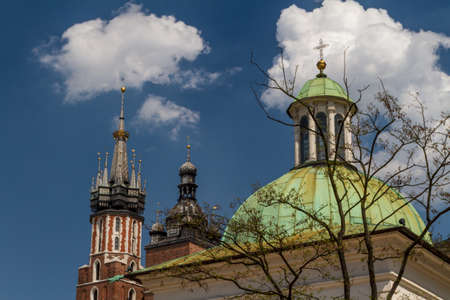 copula: st. James Church on Main Square in Cracow, Poland Stock Photo
