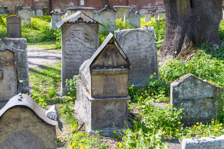 The Remuh Cemetery in Krakow, Poland, is a Jewish cemetery established in 1535. It is located beside the Remuh Synagogue Stock Photo - 13724883