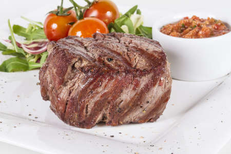 Grilled Beef Steak Isolated On a White Background Stock Photo - 13788133
