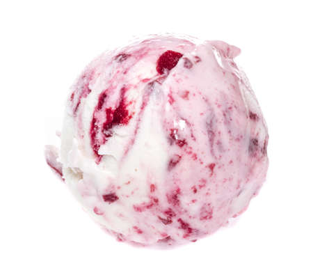 Scoop of strawberry ice cream from top on white background Banco de Imagens