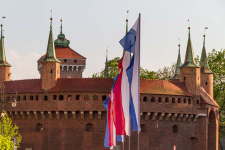 A gate to Krakow - the best preserved barbican in Europe, Poland Stock Photo - 13817964