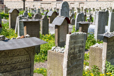 The Remuh Cemetery in Krakow, Poland, is a Jewish cemetery established in 1535. It is located beside the Remuh Synagogue Stock Photo - 13817967