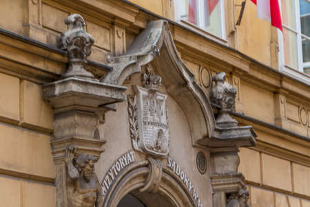 old town house: Beautiful facade of old town house in Krakow, Poland