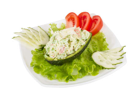 Crab meat salad with green caviar in avocado - japan cusine photo