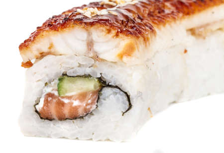 Japanese traditional Cuisine - Maki Roll with Cucumber , Cream Cheese and Raw Salmon and Eel Stock Photo - 14034761