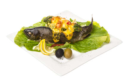 trout fish baked with shrimps and cauliflower Stock Photo - 14034636