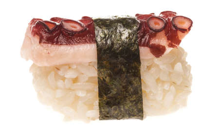 Japanese sushi with meat octopus on a white background photo