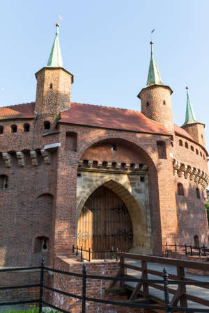 A gate to Krakow - the best preserved barbican in Europe, Poland