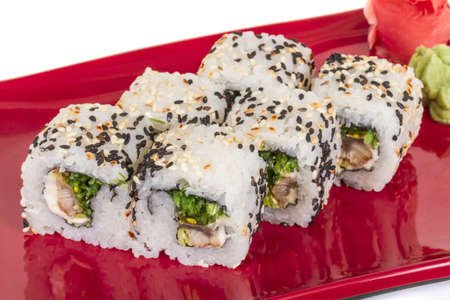 Japanese traditional Cuisine - Maki Roll with Nori , Cream Cheese and Eel. Isolated over white background Stock Photo - 14055900