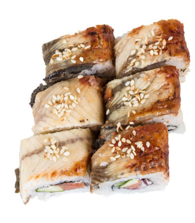 Japanese traditional Cuisine - Maki Roll with Cucumber , Cream Cheese and Raw Salmon and Eel Stock Photo - 14062883