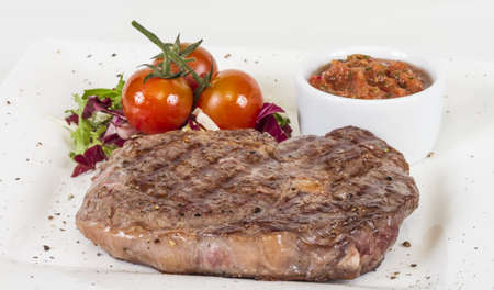 Grilled Beef Steak Isolated On a White Background Stock Photo - 14055894