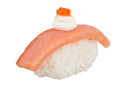 salmon sushi with white background photo