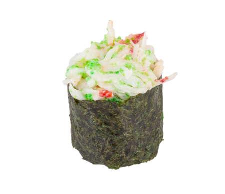 sushi kani with sauced slices of crab shrimp isolated on white background photo