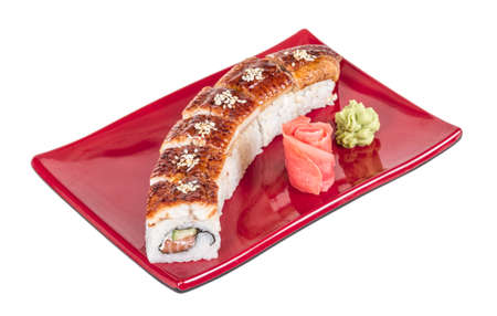 Japanese traditional Cuisine - Maki Roll with Cucumber , Cream Cheese and Raw Salmon and Eel Stock Photo - 14069003