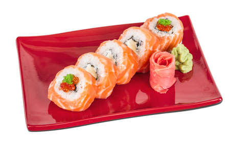 Japanese sushi traditional japanese food.Roll made of salmon, red cavair, roe and cream photo