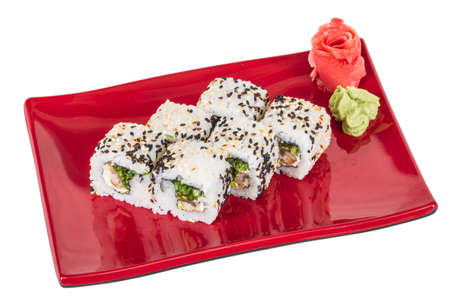 Japanese traditional Cuisine - Maki Roll with Nori , Cream Cheese and Eel. Isolated over white background Stock Photo - 14068983