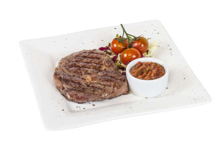 Grilled Beef Steak Isolated On a White Background Stock Photo - 14068997
