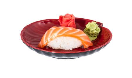 studio shoot of japanese sushi vaki with salmon on white background photo