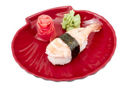 Shrimp sushi closeup isolated on white background photo