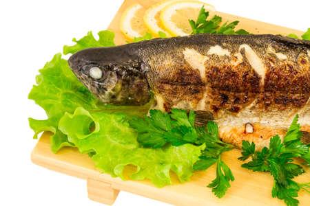Roasted striped sea bass photo