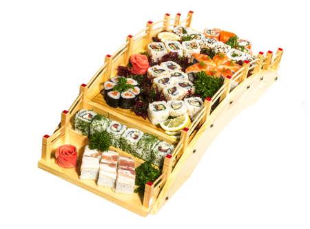 Set of sushi and rolls photo