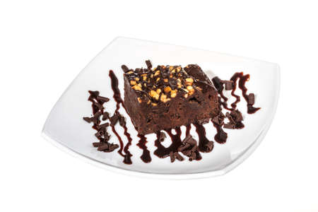 cake truffle with black chocolate sauce photo