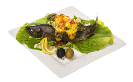 trout fish baked with shrimps and cauliflower photo