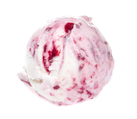 Scoop of strawberry ice cream from top on white background photo