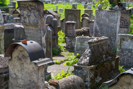 The Remuh Cemetery in Krakow, Poland, is a Jewish cemetery established in 1535. It is located beside the Remuh Synagogue Stock Photo - 14069096