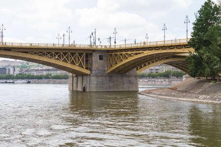 renewed: Scenic view of the recently renewed Margit bridge in Budapest.