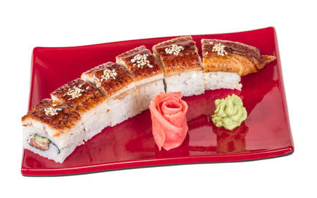 Japanese traditional Cuisine - Maki Roll with Cucumber , Cream Cheese and Raw Salmon and Eel Stock Photo - 14364027