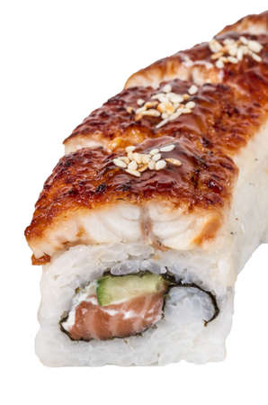 Japanese traditional Cuisine - Maki Roll with Cucumber , Cream Cheese and Raw Salmon and Eel Stock Photo - 14364032