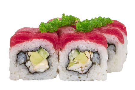 Maki Sushi - Roll made of Crab, avocado, cucumber inside. Fresh Tuna and tobico roe outside photo