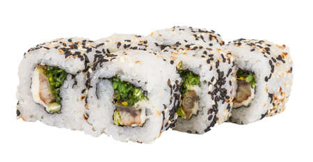 Japanese traditional Cuisine - Maki Roll with Nori , Cream Cheese and Eel. Isolated over white background Stock Photo - 14364056