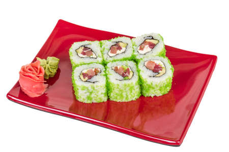 Tobiko Spicy Maki Sushi - Hot Roll with vaus type of Tobiko (flying fish roe) outside. Tuna, avocado and Green Lettuce inside Stock Photo - 14363998