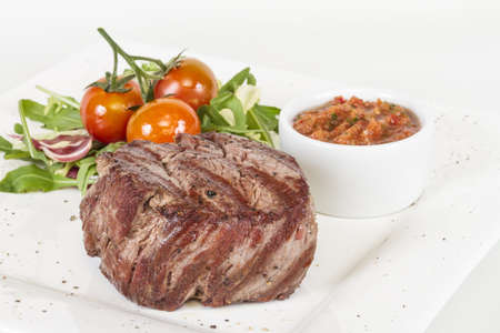 Grilled Beef Steak Isolated On a White Background Stock Photo - 14363960