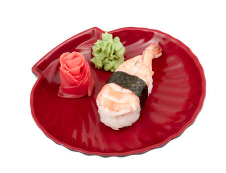 Shrimp sushi closeup isolated on white background photo