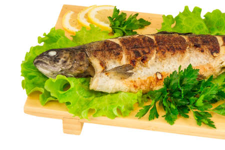 Roasted striped sea bass photo
