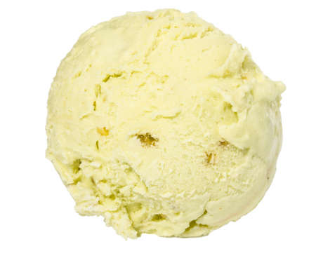 Scoop of pistachio ice cream from top on white background photo