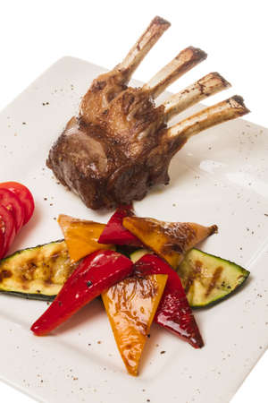 Gourmet Main Entree Course Grilled Lamb steak photo
