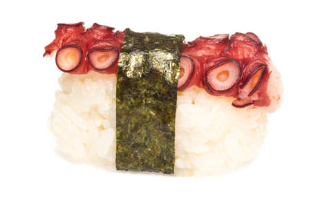 Sushi japon�s con pulpo carne en un fondo blanco photo