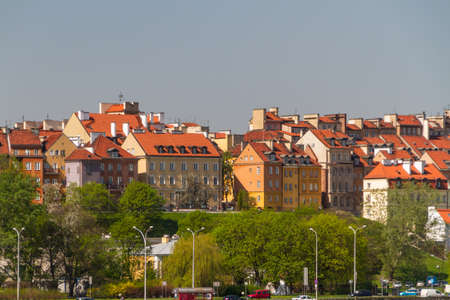 Old Town by the river Vistula picturesque scenery in the city of Warsaw, Poland photo