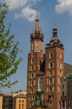 St. Marys Basilica (Mariacki Church) - famous brick gothic church in Cracow (Krakow), Poland photo