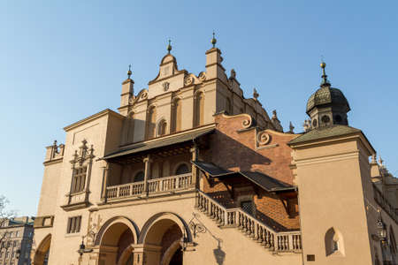 Sukiennice building in Krakow in strange perspective, Poland photo