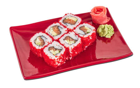 Tobiko Spicy Maki Sushi - Hot Roll with various type of Tobiko (flying fish roe) outside. Salmon, avocado and Green Lettuce inside Stock Photo - 14427578