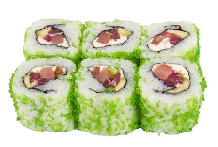 Tobiko Spicy Maki Sushi - Hot Roll with vaus type of Tobiko (flying fish roe) outside. Tuna, avocado and Green Lettuce inside Stock Photo - 14427573