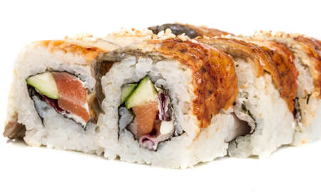 Japanese traditional Cuisine - Maki Roll with Cucumber , Cream Cheese and Raw Salmon and Eel Stock Photo - 14427568