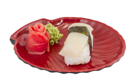 sushi hotate with slice of scallop isolated on white background photo