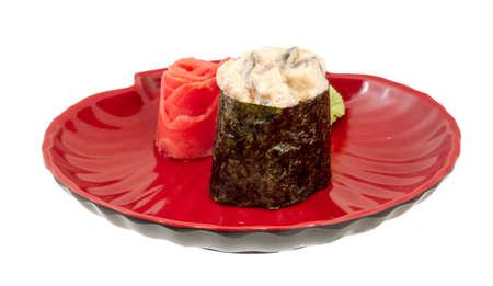 spice sushi unagi with sauced slices of smoked Eel isolated on white background photo